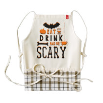 eat drink and be scary halloween zazzle HEART apron
