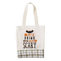 eat drink and be scary halloween zazzle HEART tote bag