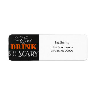 Eat Drink and be scary orange Halloween label