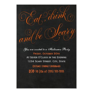Halloween Themed Eat drink and be scary orange Invitation