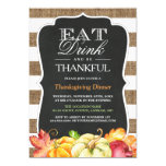 Eat Drink and Be Thankful   Rustic Thanksgiving Card