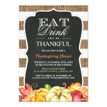 Eat Drink and Be Thankful | Rustic Thanksgiving Card
