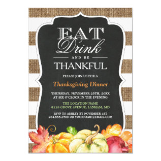 Eat Drink And Be Thankful | Rustic Thanksgiving Card at Zazzle