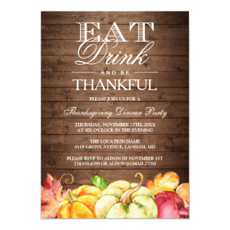 Eat Drink and Be Thankful | Rustic Wood Pumpkins Card