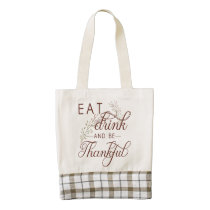 eat drink and be thankful zazzle HEART tote bag