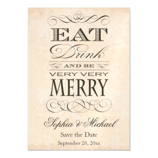Eat Drink and Be Very Very Merry Save the Date Magnetic Card