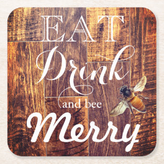 eat drink and bee merry square paper coaster