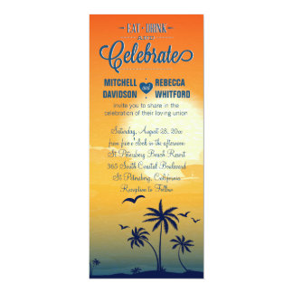 Eat Drink and Celebrate Summer Sunset Wedding Card