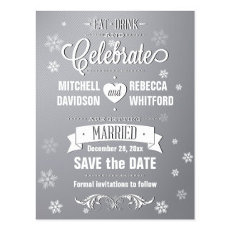 Eat Drink and Celebrate Winter Gray Save the Date Postcard