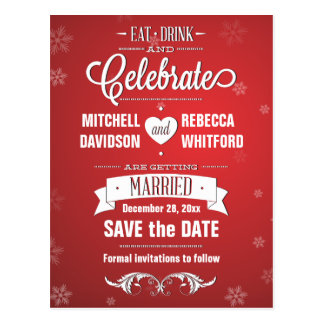 Eat Drink and Celebrate Winter Red Save the Date Postcard