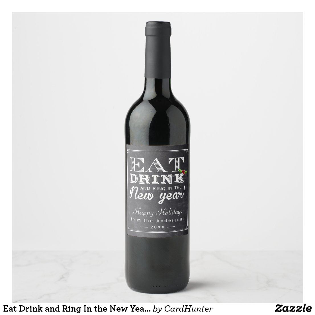 Eat Drink and Ring In the New Year Cheers Wine Label