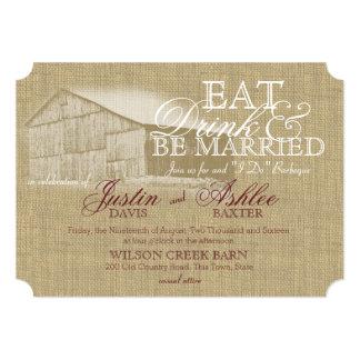 Eat Drink BBQ Barn Wedding Rehearsal Card