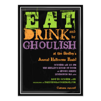 Eat, Drink & Be Ghoulish! Halloween Party Personalized Invitations