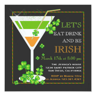 Eat, Drink & Be Irish St. Patrick's Day Cocktail Card