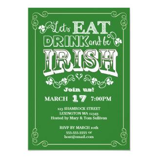 "Eat, Drink & Be Irish St. Patrick's Day Invitation 5"" X 7"" Invitation Card"