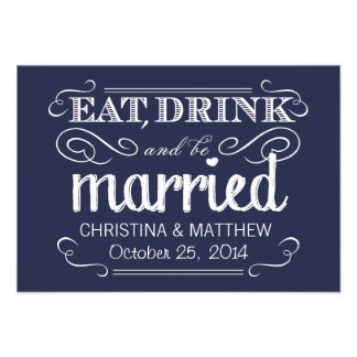 Eat Drink be Married Chalkboard Rounded RSVP Custom Announcements
