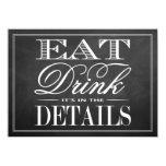 Eat, Drink & Be Married Chalkboard Wedding Card