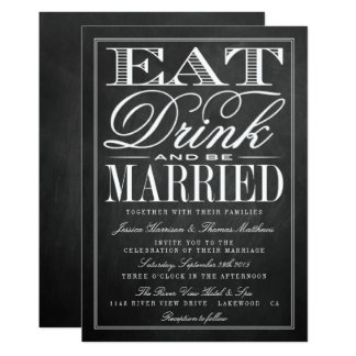 eat_drink_be_married_chalkboard_wedding_card r8806e5d923f64b63820f1f2f9c62b4cf_6gduf_324?rlvnet=1 eat drink and be married invitations & announcements zazzle,Eat Drink And Be Married Wedding Invitations