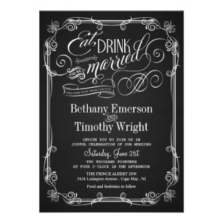 Eat Drink Be Married Chalkboard Wedding Invitation