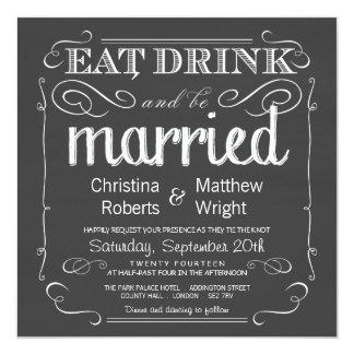eat_drink_be_married_chalkboard_wedding_invitation rd9f2c2b35ce04ba490f8b2b9dc2b6c0c_zk9yv_324?rlvnet=1 eat drink and be married invitations & announcements zazzle,Eat Drink And Be Married Wedding Invitations