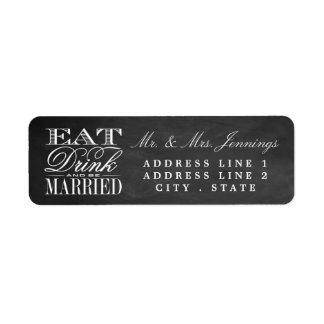 Eat, Drink & Be Married Chalkboard Wedding Labels