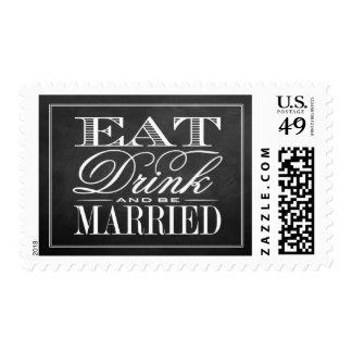 Eat, Drink & Be Married Chalkboard Wedding Postage