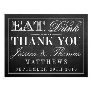 Eat, Drink & Be Married Chalkboard Wedding Postcard