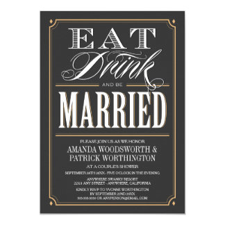 Eat Drink & Be Married Couples Shower Invitations