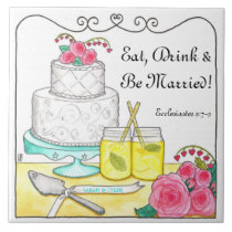Eat, Drink & Be Married Customizable Wedding Tile