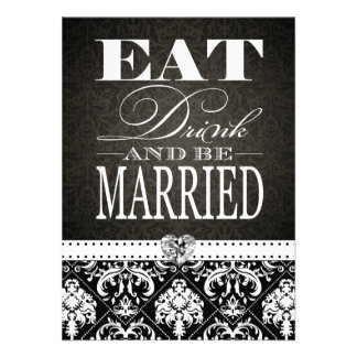 Eat Drink & be Married - Elegant Black Damask Personalized Invite