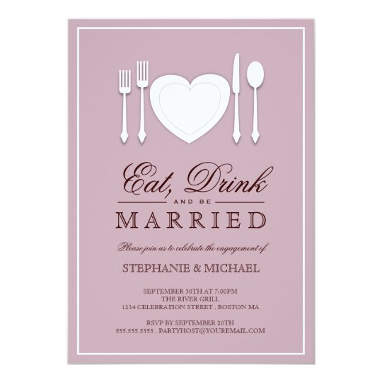 Eat Drink & Be Married Engagement Party Invitation