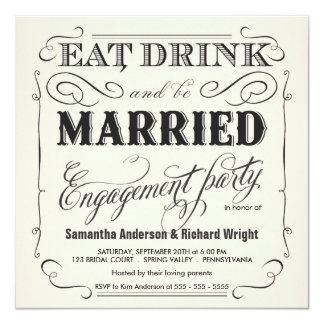"Eat Drink be Married Engagement Party Invitations 5.25"" Square Invitation Card"