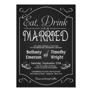 Eat Drink Be Married Fancy Chalkboard Invitations