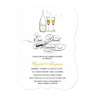 Eat Drink Be Married Gold Champagne Wedding Invite