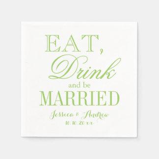 Eat drink be married green beverage paper napkins