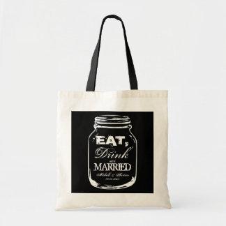 Eat drink & be married mason jar wedding tote bags