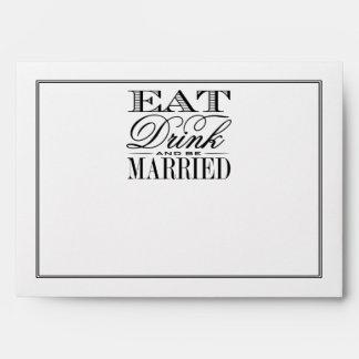 Eat, Drink & Be Married Modern Black/White Wedding Envelope