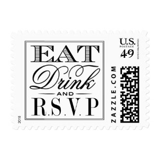 Eat, Drink & Be Married Modern Black/White Wedding Postage