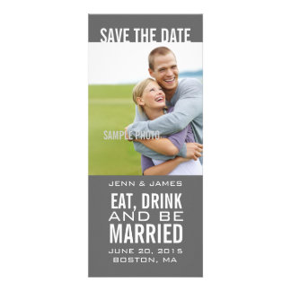 Eat Drink Be Married Modern Photo Save the Date Invites