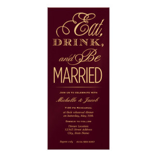 Eat, Drink, Be Married Personalized Announcements