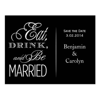 Eat, Drink, Be Married Postcard