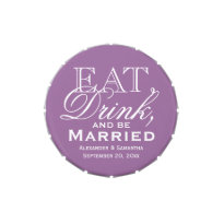 Eat, Drink, Be Married Purple Custom Wedding Favor Candy Tins