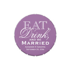 Eat, Drink, Be Married Purple Custom Wedding Favor Candy Tins at Zazzle