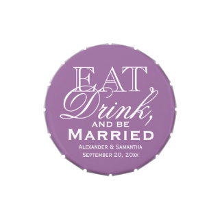 Eat, Drink, Be Married Purple Custom Wedding Favor Candy Tin