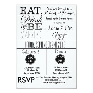 Eat Drink & Be Married Rehearsal Dinner Invitation