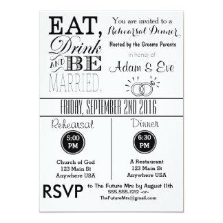 Eat Drink & Be Married Rehearsal Dinner Invitation