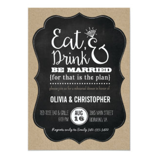 Eat, Drink & Be Married Rehearsal Dinner Invite