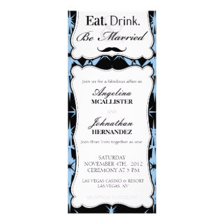 Eat, Drink & Be Married Retro Mustache Invite