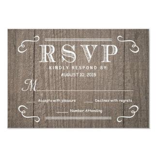 Eat Drink & be Married RSVP Western Wood Wedding Card