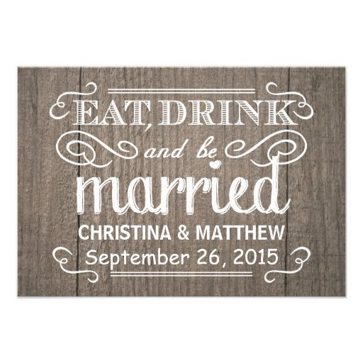 Eat Drink & be Married RSVP Western Wood Wedding Personalized Invitation